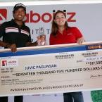 champion,juvic pagunsan with ms victoria vicente-aboitiz corporate communication manger