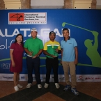 ms nana soriano,pr head,ictsi with kim jeong hyung and champion pro zanieboy gialon with mr dave hernandez of calatagan golf