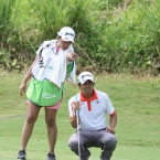 jay bayron with his caddie wife