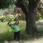 1.mondilla fires from he rough in hole 9