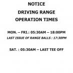 DRIVING RANGE OPERATION TIMES