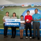 the awrdee of year end best course southwoods,best amateur katsuragawa,and order of merit winner tony lascuna in behalf of received by cheryl alferez(wife) and shanryl antonette lascuna(daughter)