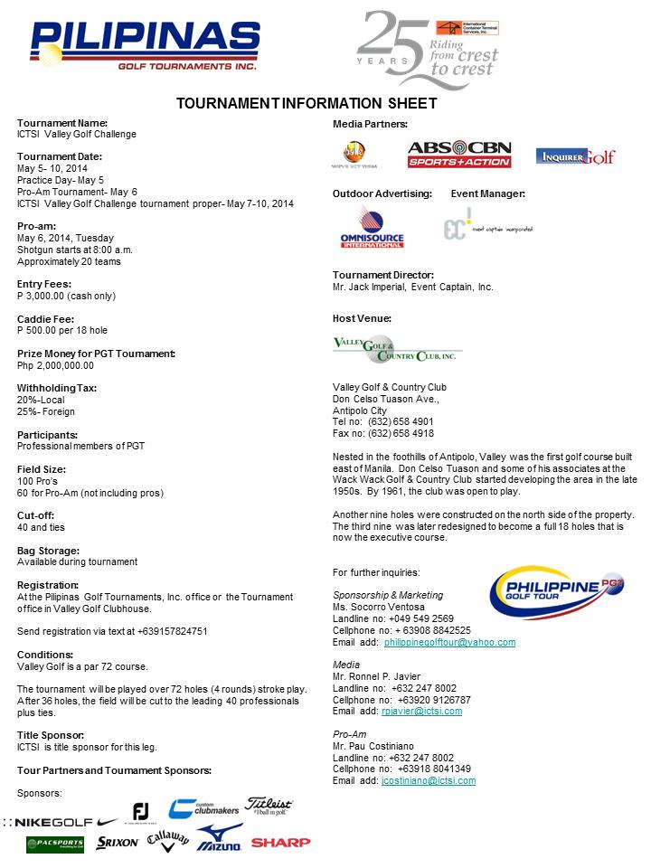 Valley golf Tournament Infosheet 2014