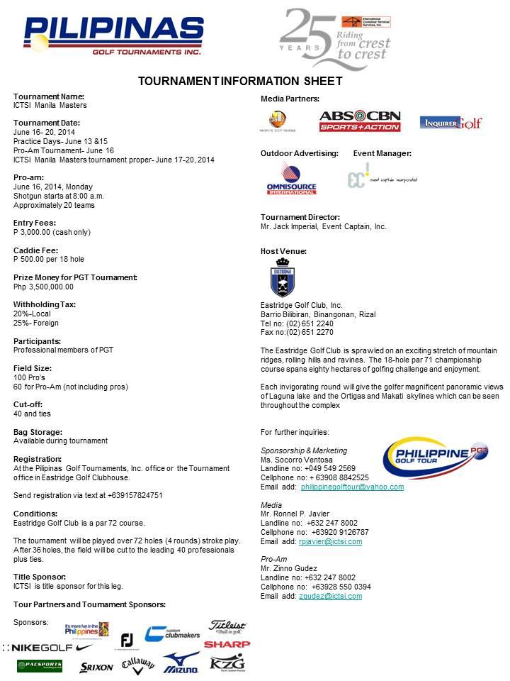 Eastridge golf Tournament Infosheet 2014
