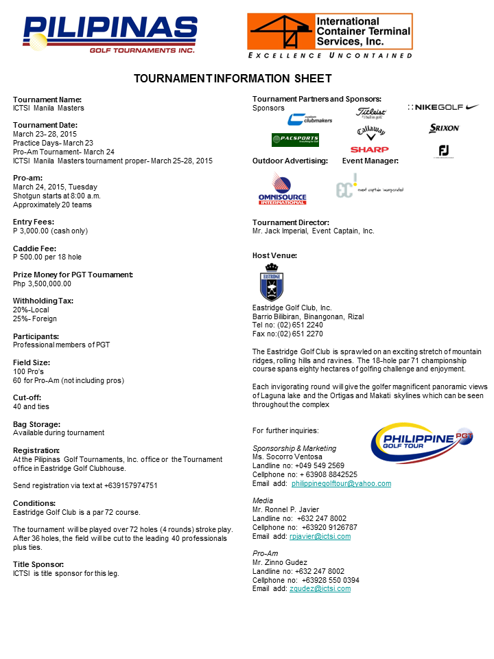 Eastridge golf Tournament Infosheet 2015