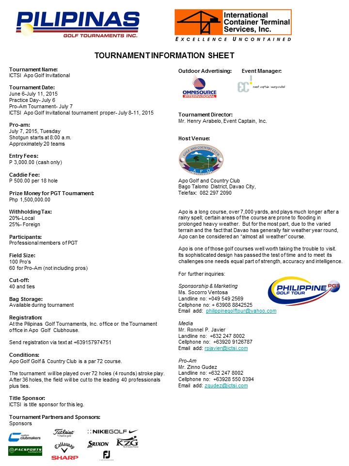 ICTSI Apo Golf Invitational Tournament Infosheet 2015