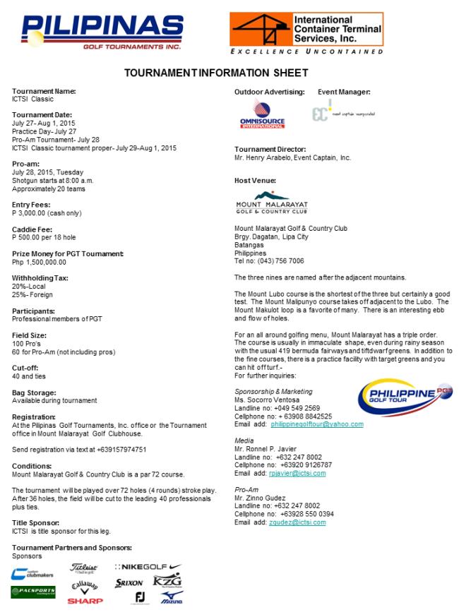 ICTSI Classic Tournament Infosheet 2015