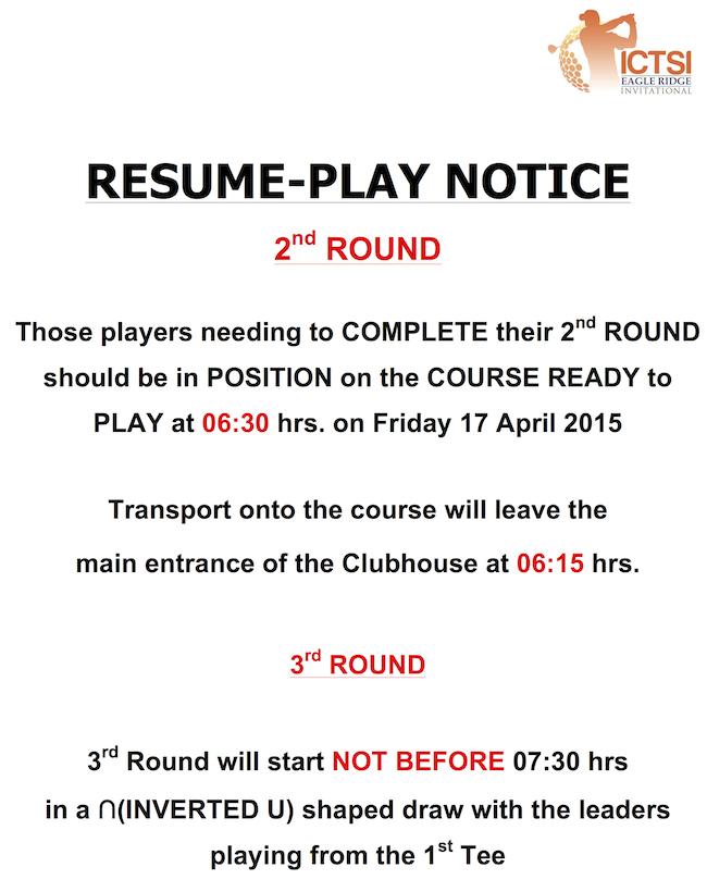 Resume Play Notice