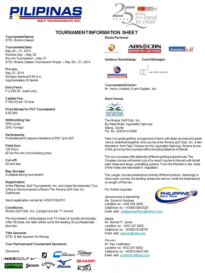 Riviera ADT golf Tournament Infosheet 2014