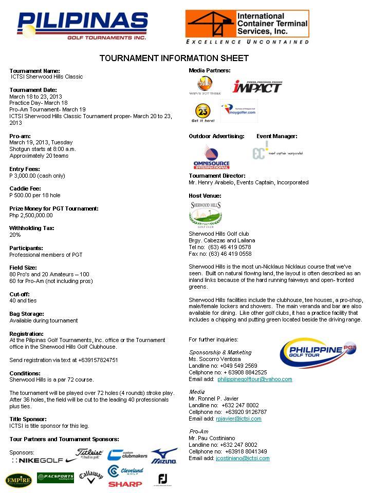 Sherwood Tournament Infosheet 2013